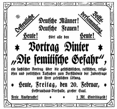 """Im Februar 1920 spricht einer der bekanntesten Antisemiten der damaligen Zeit, Artur Dinter, über """"Die semitische Gefahr""""."""